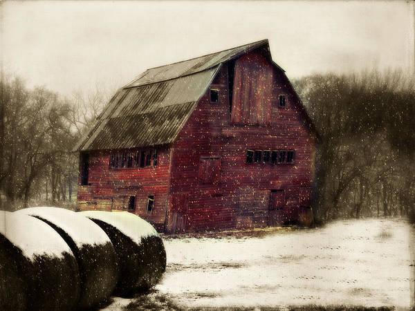 Barn Art Print featuring the photograph Snow Bales by Julie Hamilton