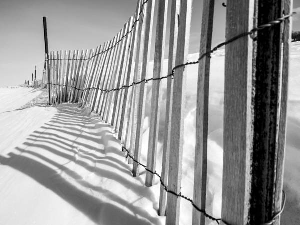 Grand Haven Art Print featuring the photograph Snow Fence B/w by Kirsten Dykstra