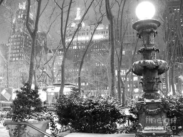 Bryant Park Art Print featuring the photograph Snowy Night In Bryant Park II by Miriam Cintron