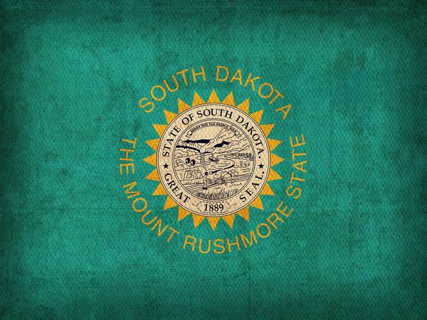 South Dakota State Flag Art On Worn Canvas Art Print By Design Turnpike