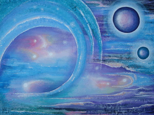 Planets Art Print featuring the painting Space Paradise by Krystyna Spink