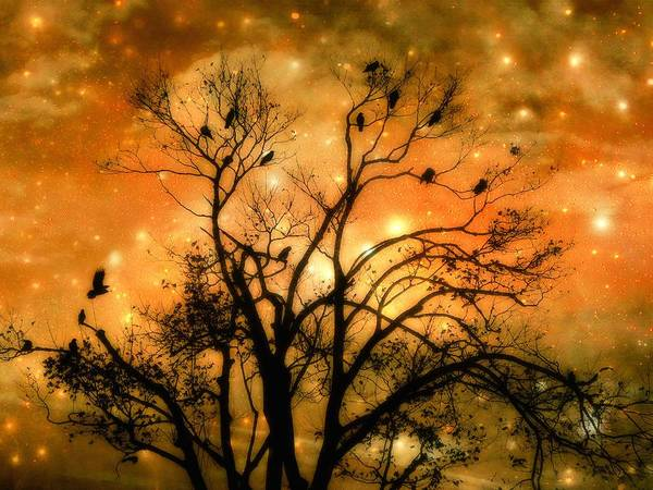 Fantasy Night Art Print featuring the digital art Sparkling Stars Light The Sky by Gothicrow Images