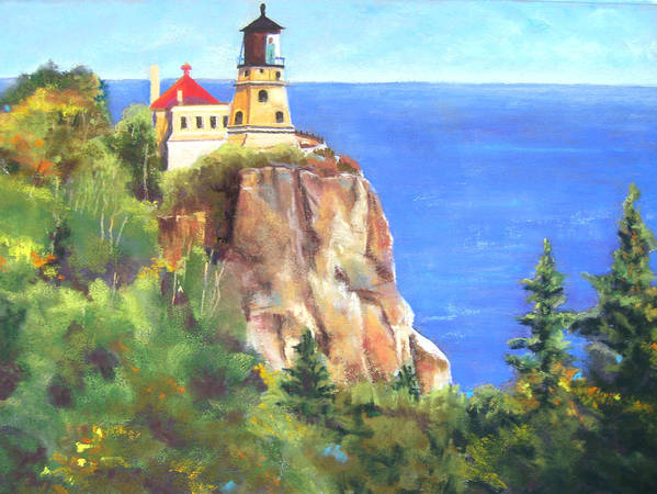Landscape Art Print featuring the painting Split Rock Lighthouse by Vicki Brevell