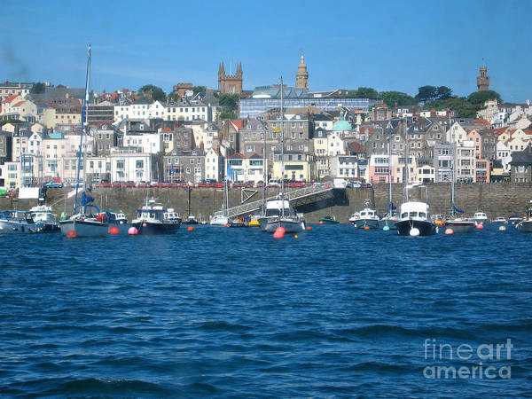 Isle Of Geurnsey Art Print featuring the photograph St Peters Port Guernsey by Phyllis Kaltenbach