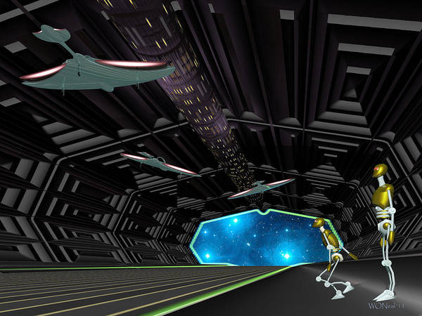 Science Fiction Art Print featuring the digital art Star Ship Chamber Landing by Walter Neal
