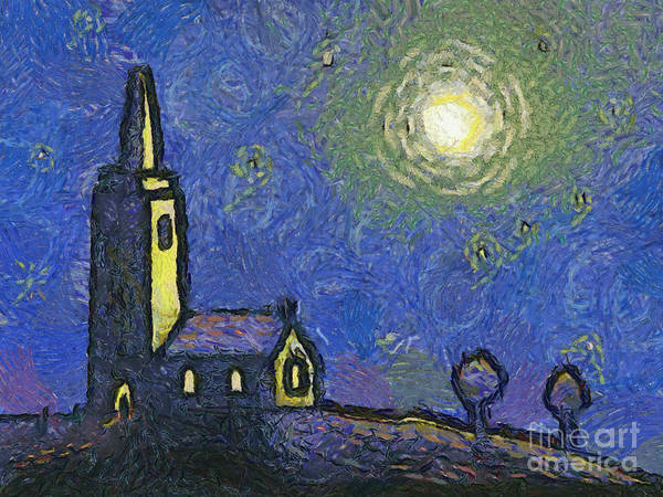 Vincent Art Print featuring the painting Starry Church by Pixel Chimp