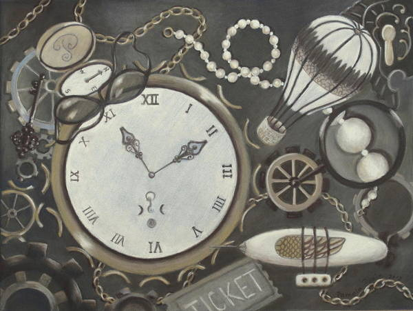Antiques Art Print featuring the pastel Steampunk Adventure by Pamela Poole