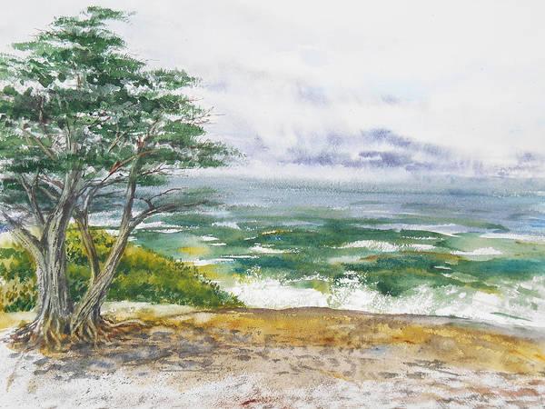 Seascape Art Print featuring the painting Stormy Morning At Carmel By The Sea California by Irina Sztukowski