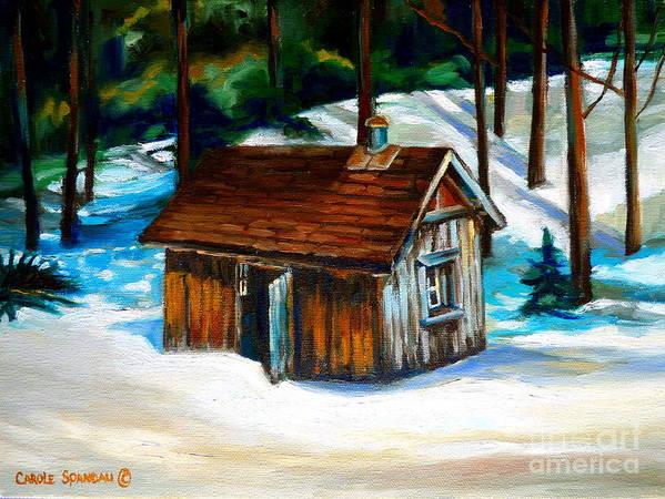 Sugar Shack Quebec Landscape Art Print featuring the painting Sugar Shack Quebec Landscape by Carole Spandau