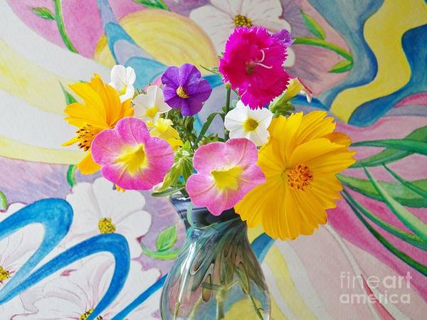 Flowers Art Print featuring the painting Summer Fiesta Island by Judy Via-Wolff