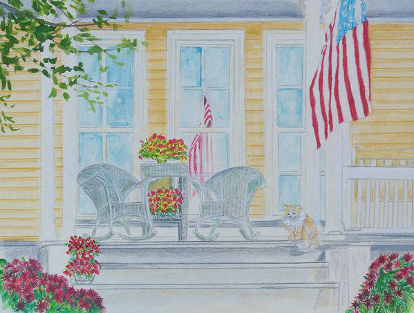 Art Art Print featuring the painting print Summer Porch and Flag for sale by Diane Jorstad
