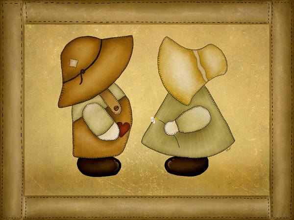 Sunbonnet Sue Art Print featuring the painting Sunbonnet Sue And Overall Sam by Brenda Bryant