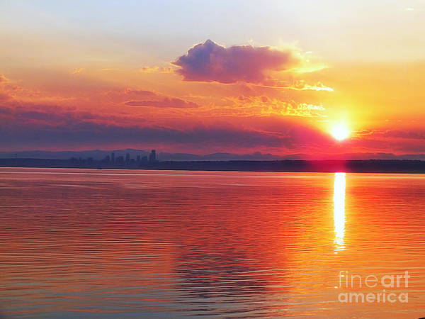 Seattle-landscape-sunrise-sunlight-reflections Art Print featuring the photograph Sunrise Over Seattle by Scott Cameron