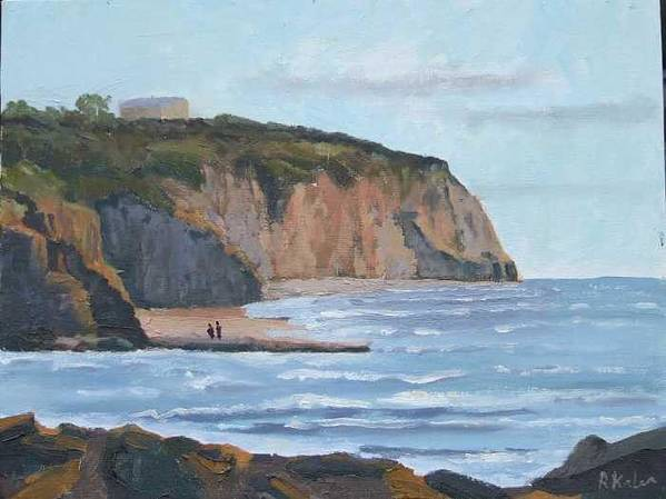 Art Print featuring the painting Sunset Cliffs Ca by Raymond Kaler