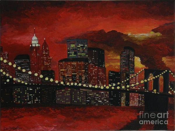 Modern Art Print featuring the painting Sunset In New York by Denisa Laura Doltu