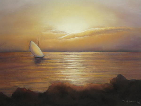 Landscape Art Print featuring the painting Sunset Sailing by Maruska Lebrun