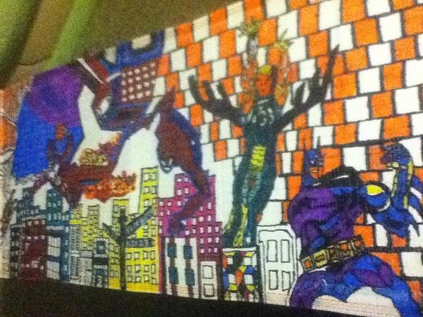 Sneaker Art Print featuring the drawing Super Heroes by Mj Museum
