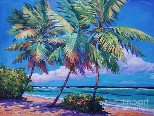 Cayman Art Print featuring the painting Swaying Palms by John Clark