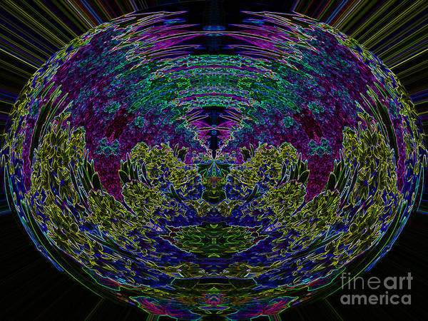Abstract Art Print featuring the digital art Tech Globe by Michael Anthony
