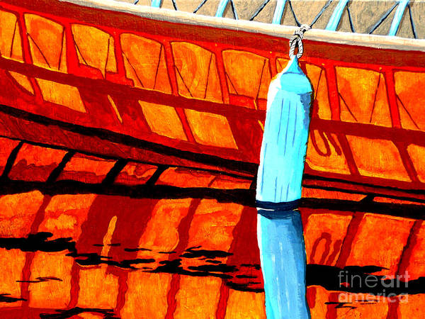 Canoe Art Print featuring the painting The Blue Fender by Anthony Dunphy