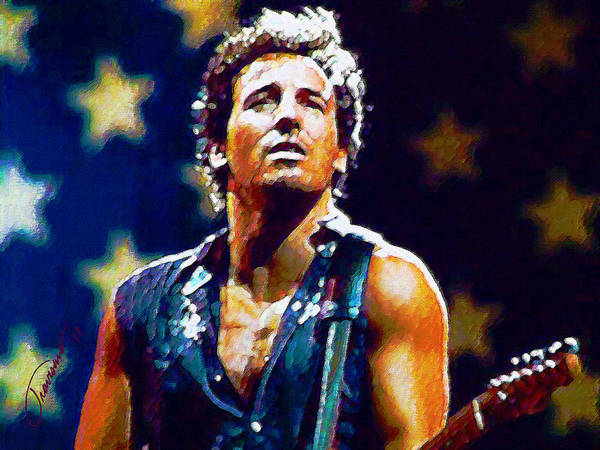Bruce Springsteen Art Print featuring the painting The Boss by John Travisano