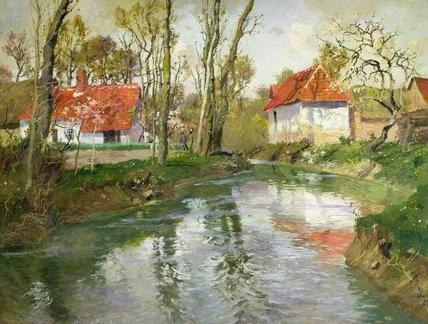Landscape Print featuring the painting The Dairy At Quimperle by Fritz Thaulow