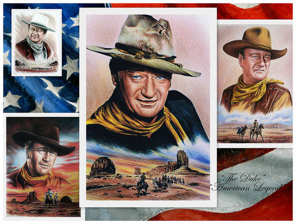 John Wayne Print featuring the painting The Duke American Legend by Andrew Read