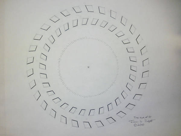 Pi Art Print featuring the drawing The Eye Of Pi by Jason Padgett