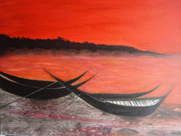 Boats Art Print featuring the painting The Farewell Songs Part 1 by Prasenjit Dhar