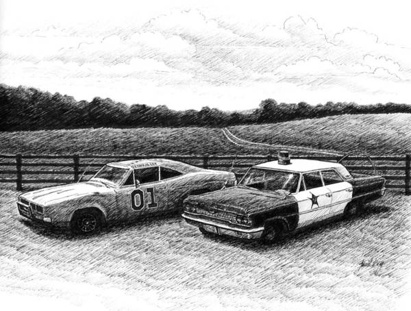 The General Lee Art Print featuring the drawing The General Lee And Barney Fife's Police Car by Janet King