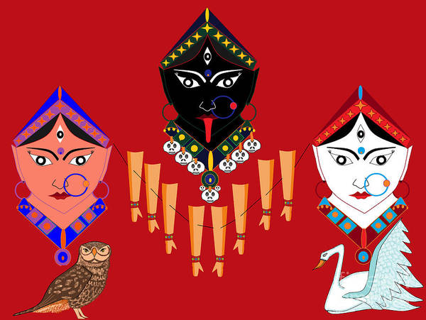 The Great Goddess Art Print featuring the digital art The Great Goddesses by Pratyasha Nithin