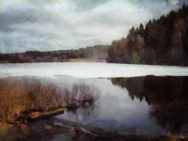 Nature Art Print featuring the digital art The Lake In My Little Village by Gun Legler