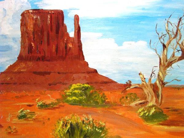 Desert Art Print featuring the painting The Mitten In Mounument Valley by Judi Pence