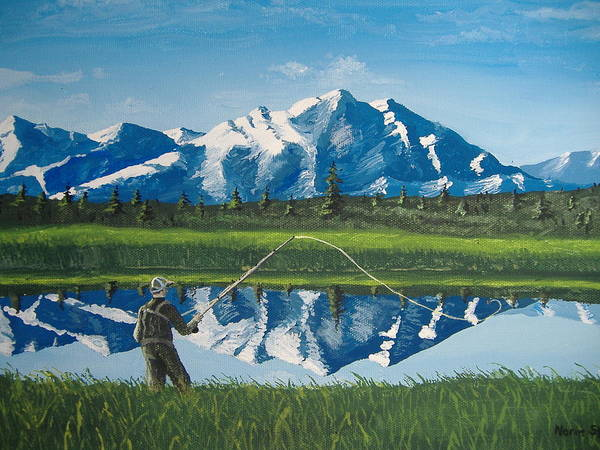 Fishing Art Print featuring the painting The Perfect Cast by Norm Starks