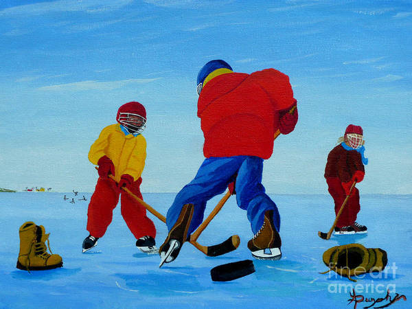 Winter Art Print featuring the painting The Pond Hockey Game by Anthony Dunphy