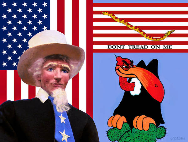 Uncle Sam Art Print featuring the sculpture The True The Blue And The Naughty by David Wiles