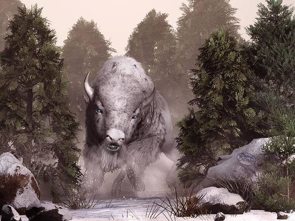 Buffalo Art Print featuring the digital art The White Buffalo by Daniel Eskridge