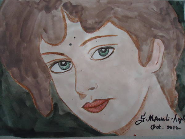 Face Art Print featuring the painting The Woman From The Market... by Fladelita Messerli-