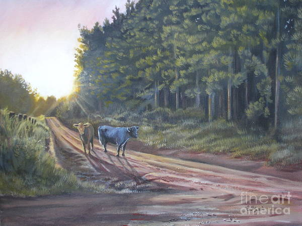 Cow Art Print featuring the painting Them Cows Is Out Again by Callie Smith