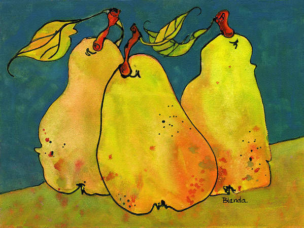Pear Art Print featuring the painting Three Pears Art by Blenda Studio