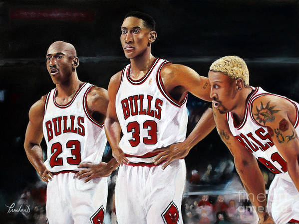 Chicago Art Print featuring the painting Threepeat - Chicago Bulls - Michael Jordan Scottie Pippen Dennis Rodman by Prashant Shah