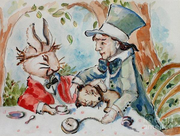 Alice In Wonderland Print featuring the painting Time The Mad Tea Party 2 by Carrie Joy Byrnes