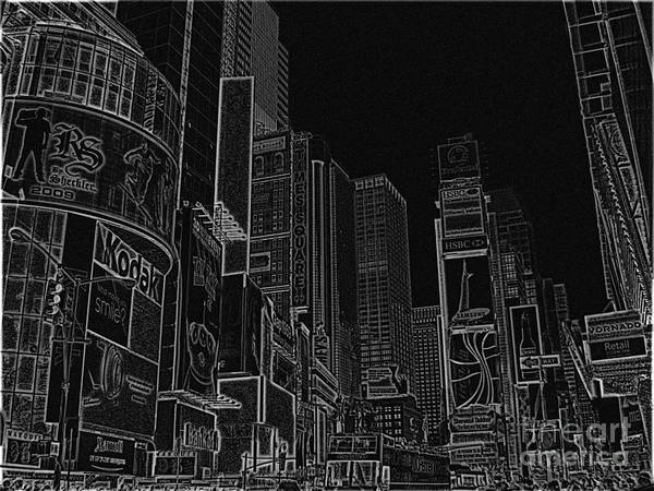 Times Square Art Print featuring the digital art Times Square Nyc White On Black by Meandering Photography