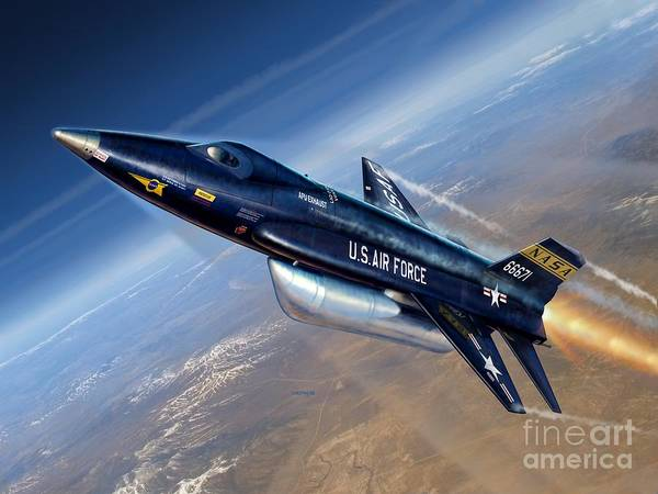 X-15 Art Print featuring the digital art To The Edge Of Space - The X-15 by Stu Shepherd