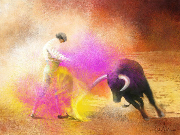 Bullfight Art Print featuring the painting Toroscape 55 by Miki De Goodaboom