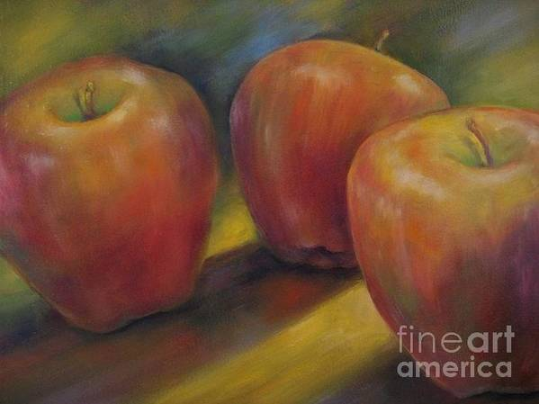 Stilllife Art Print featuring the painting Trio In Spotlight by Margie Tate