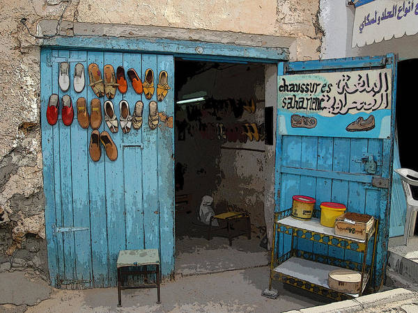 Africa Art Print featuring the photograph Tunesian Shoemaker Shop by Donna Lee Young