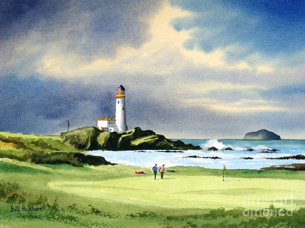 Turnberry Golf Course Art Print featuring the painting Turnberry Golf Course Scotland 10th Green by Bill Holkham