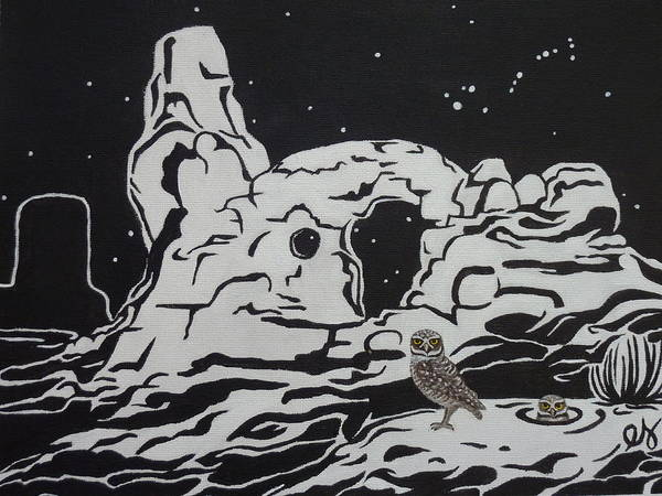Turret Art Print featuring the painting Turret Arch Under The Stars by Estephy Sabin Figueroa