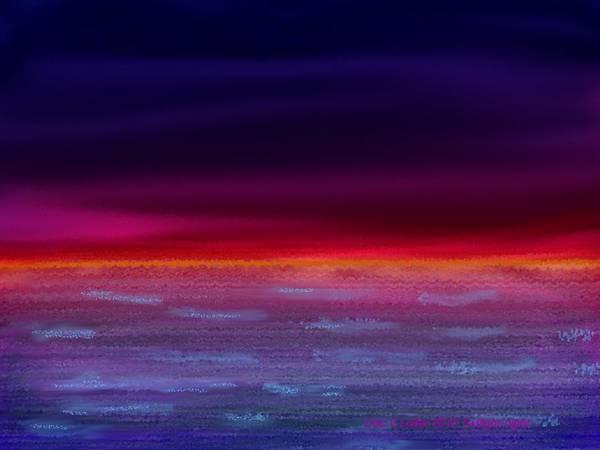 Twilight Night Sky Sea Colors Waves Art Print featuring the digital art Twilight-night by Dr Loifer Vladimir